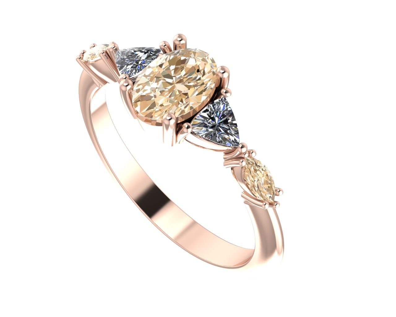 Maisie brown and white diamond rose gold engagement ring