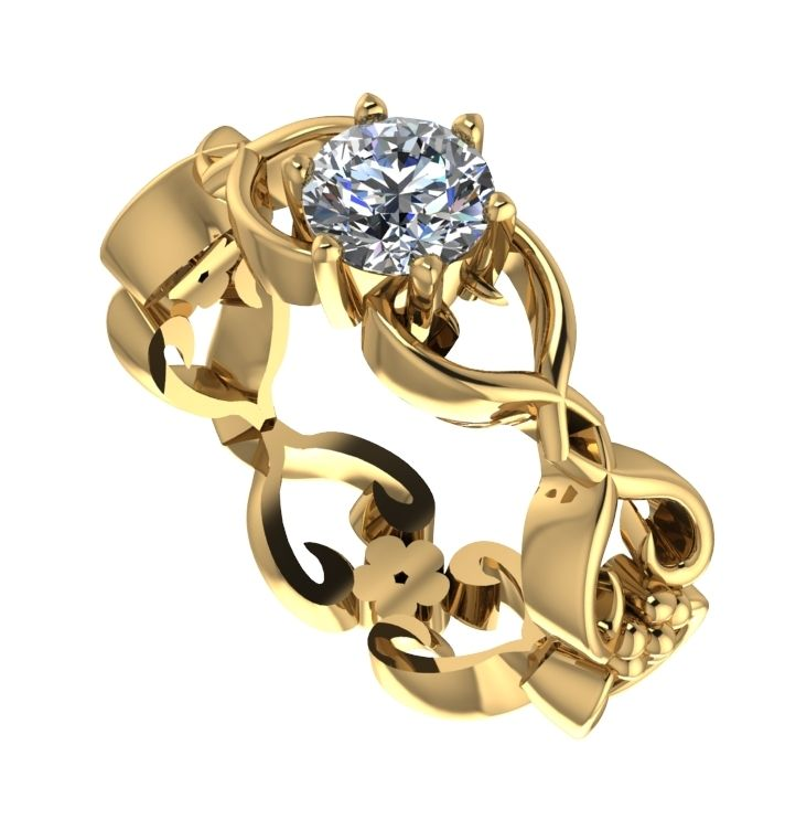 Flowers on the Vine (yellow gold)