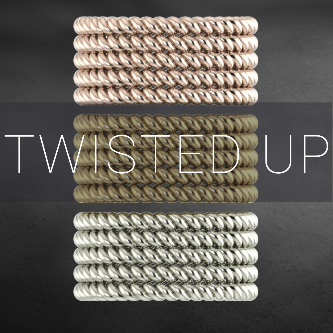 Twisted up, contemporary wedding rings