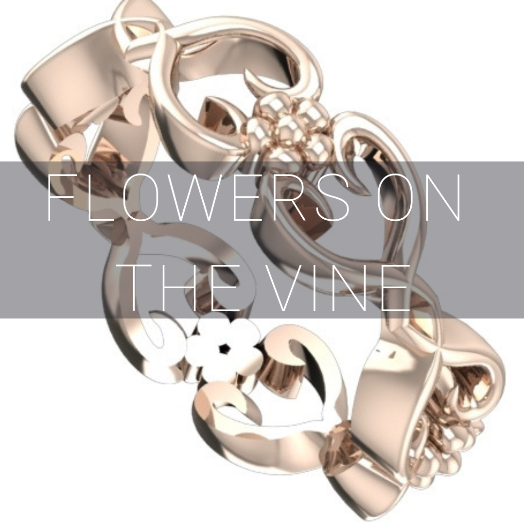 Flowers on the vine wedding rings