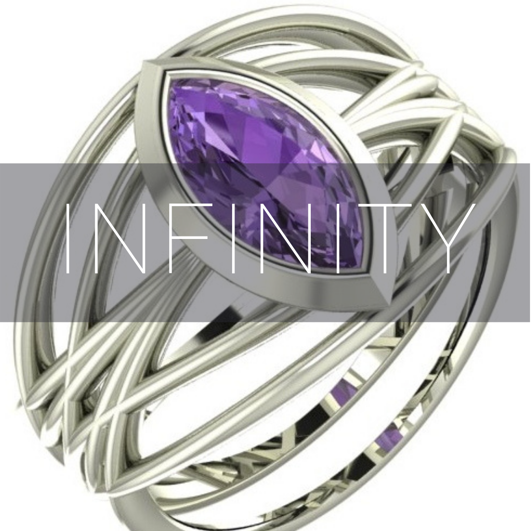 Infinity gemstone rings, cocktail rings.