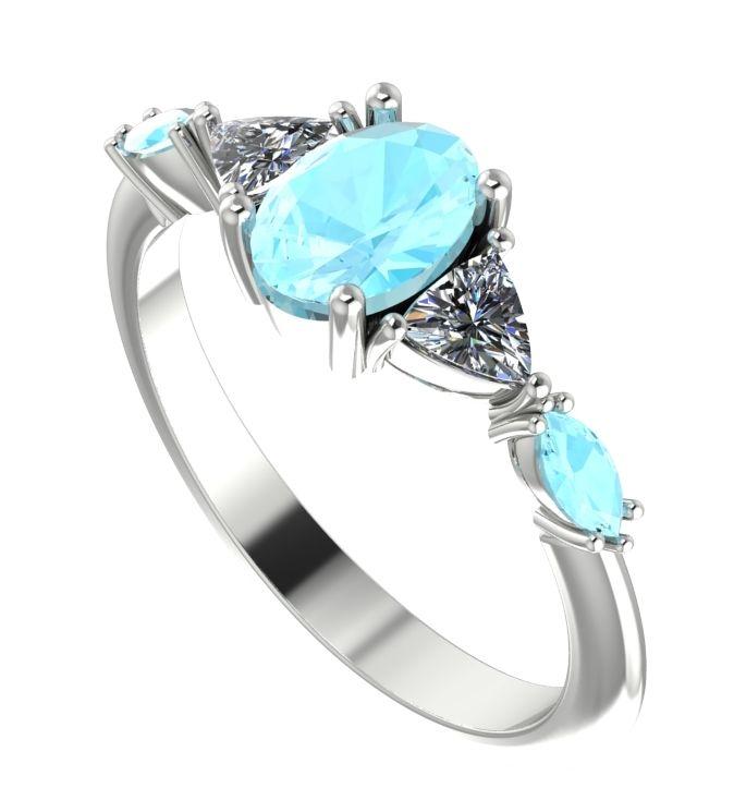 Maisie, aquamarine and diamond  ring