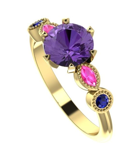 Decadent and unusual engagement ring. Violet , pink and bluesapphires.