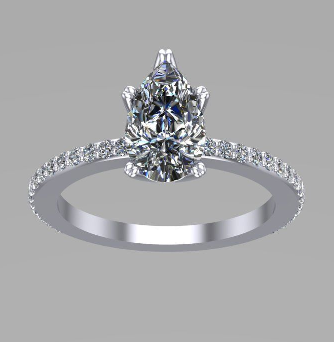Bespoke pear diamond engagement ring - Jess