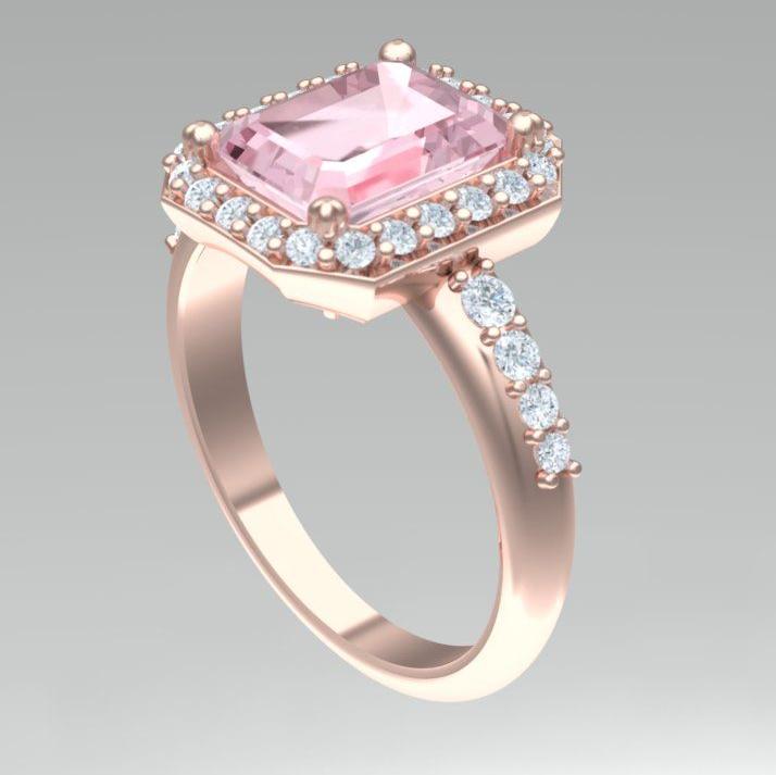 Bepoke rose gold, diamond and morganite engagement ring, Ruth