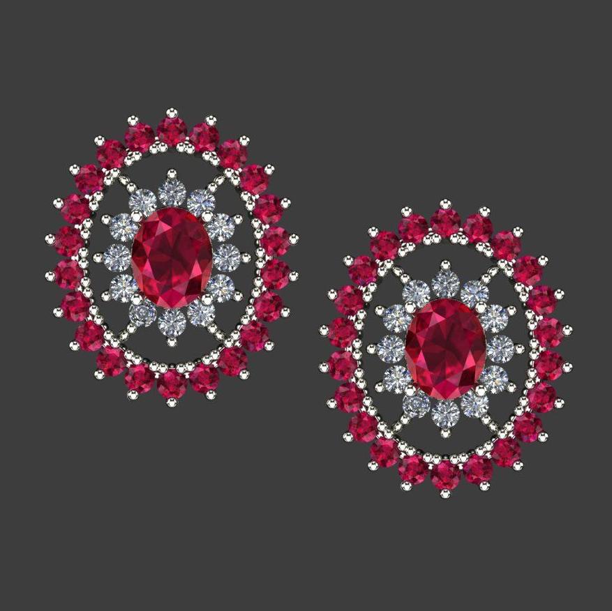 Ana Marie, bespoke ruby and diamond earrings