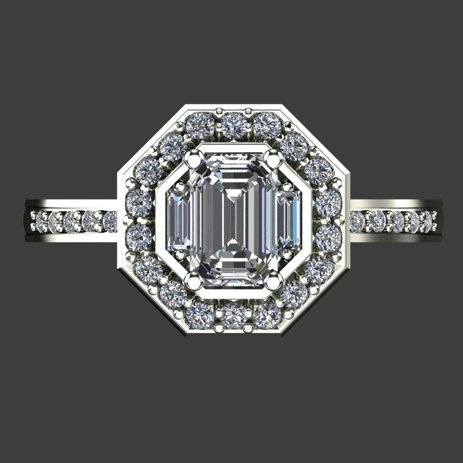 Bespoke art deco diamond engagement ring - Kat