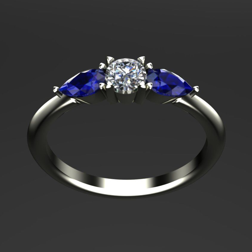Bespoke diamond and sapphire, tear shape engagement ring ,  Simon