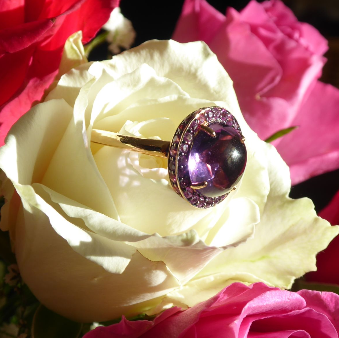 amethys, pink sapphire and rose gold cocktail ring