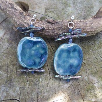 Ceramic and pearl earrings