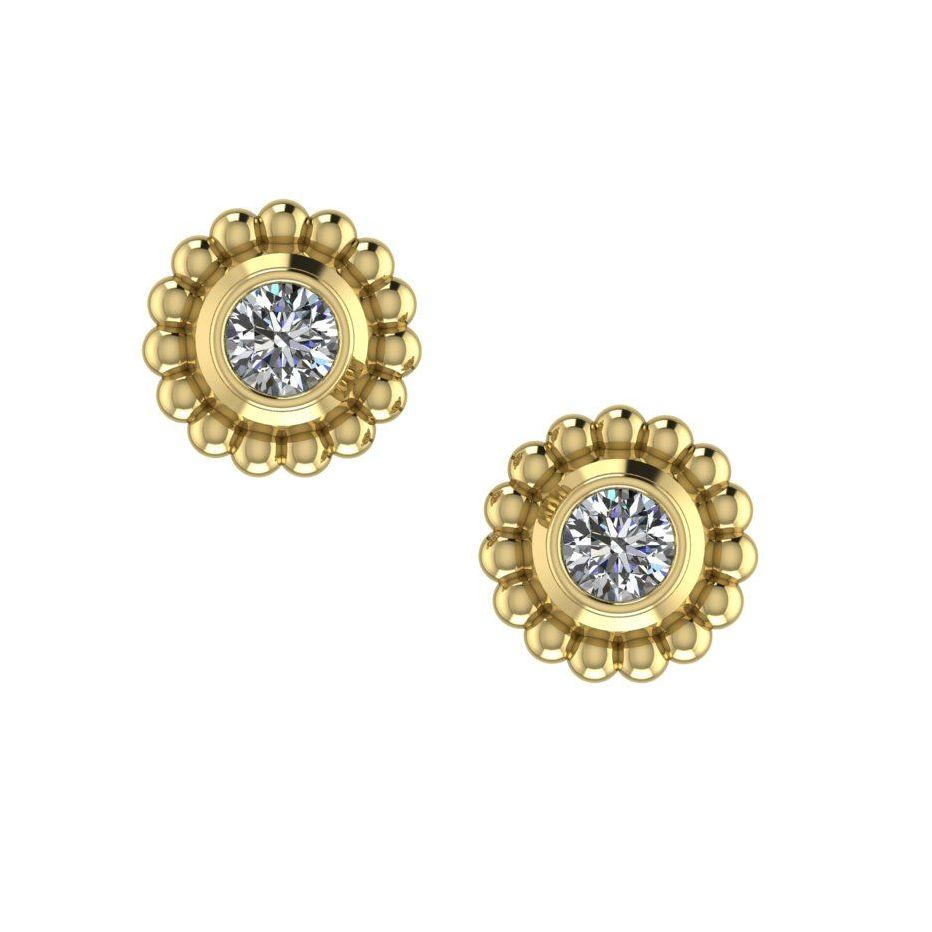 Diamond Mini Alto Earrings -  Yellow Gold