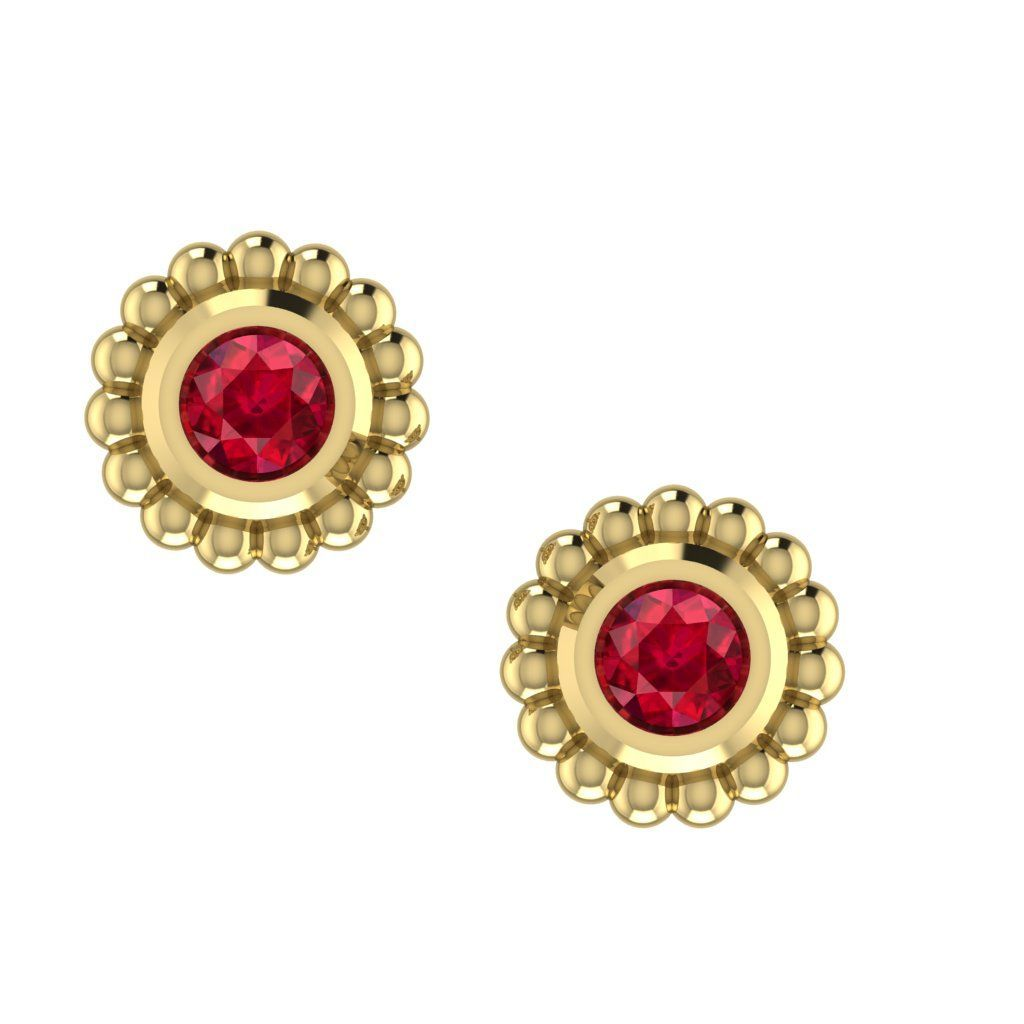 Ruby Mini Alto Earrings - 18 carat yellow gold