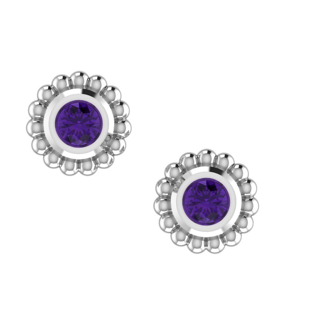 Amethyst & Silver Mini Alto Earrings
