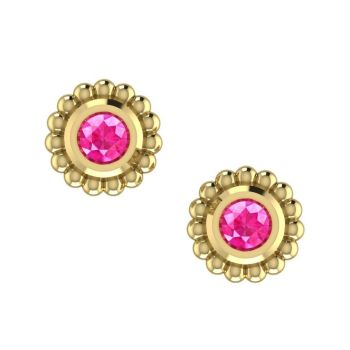 Pink Sapphire Yellow Gold Mini Alto Earrings