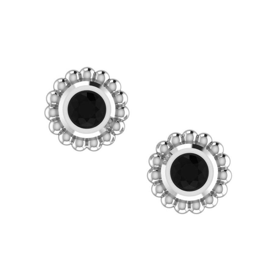 Black Diamond & Silver Mini Alto Earrings