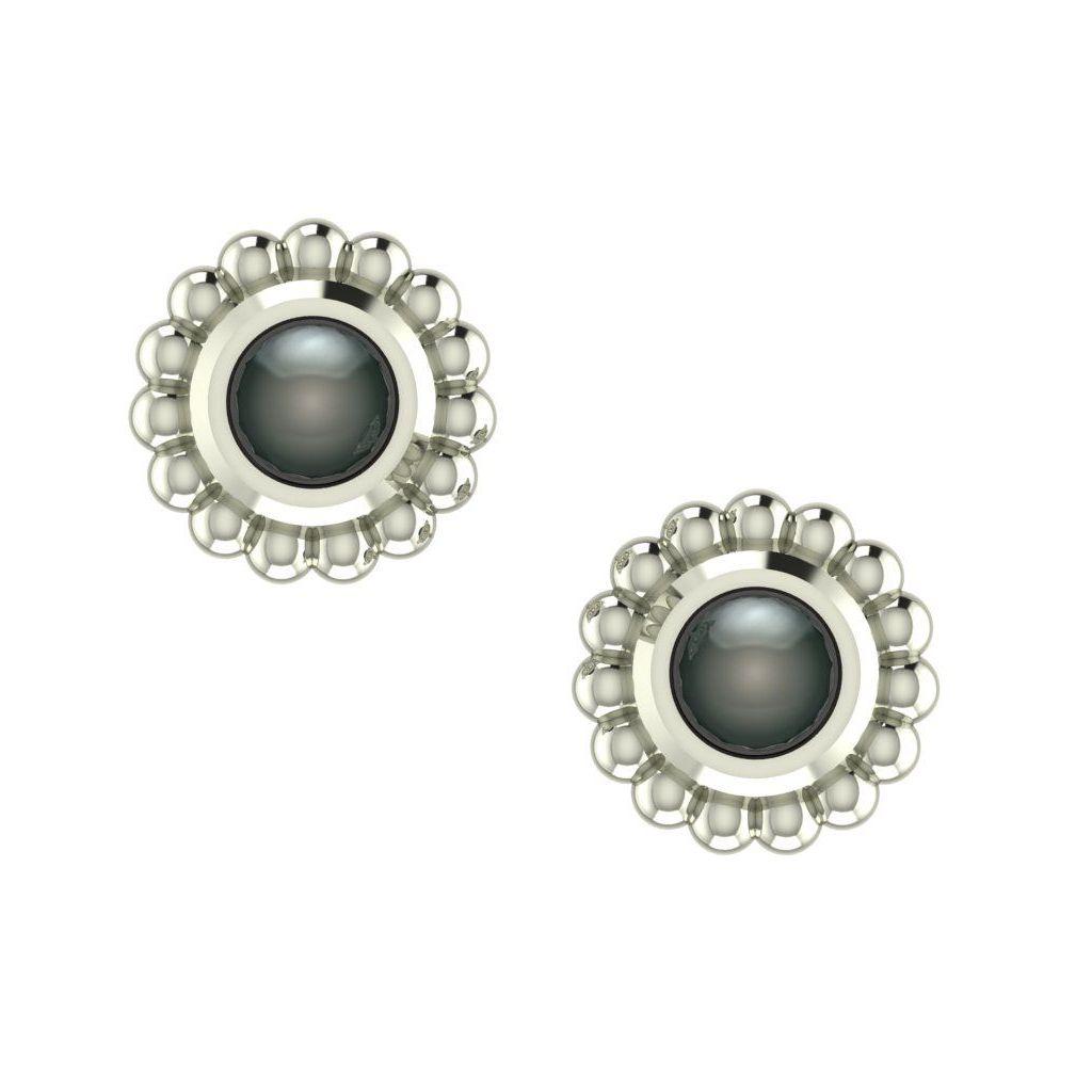 Black Pearl & Silver Mini Alto Earrings