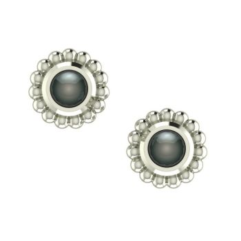Black Pearl & Silver Mini Alto Earrings