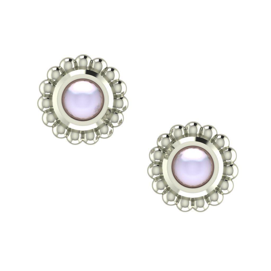 White Pearl & Silver Mini Alto Earrings