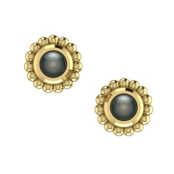 Black Pearl & Yellow Gold Mini Alto Earrings