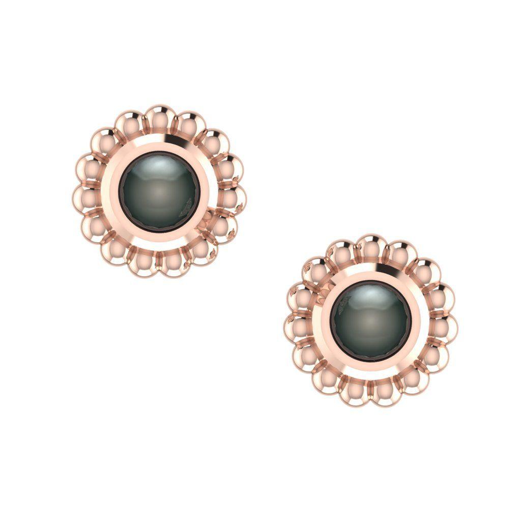 Black Pearl & Rose Gold Mini Alto Earrings