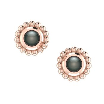 Black Pearl & Rose Gold Mini Alto Earrings