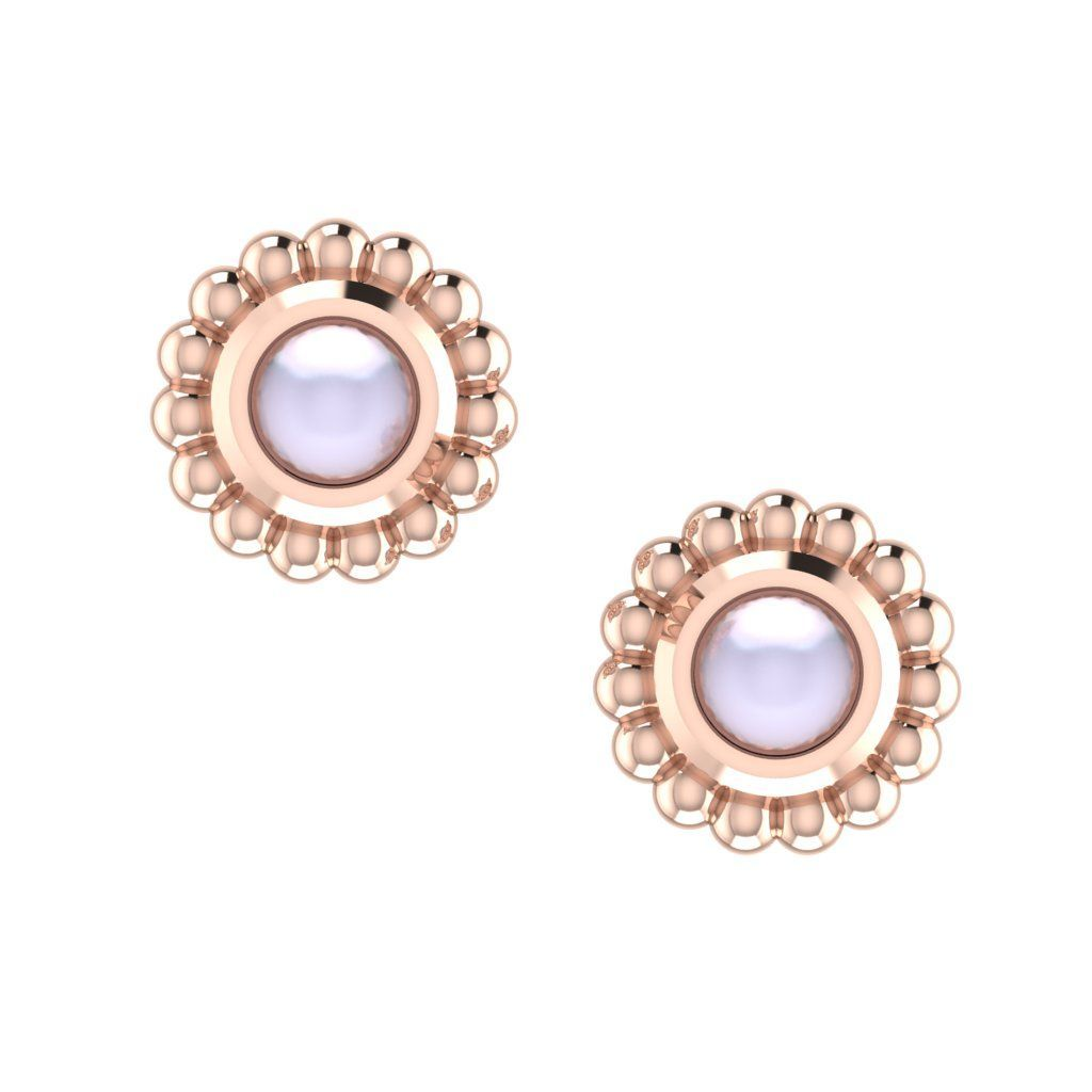 White Pearl & Rose Gold Mini Alto Earrings