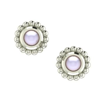 White Pearl & White Gold Mini Alto Earrings
