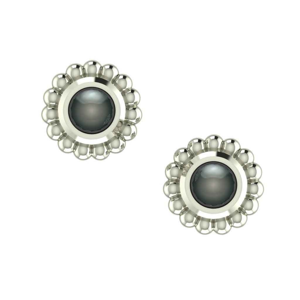 Black Pearl & White Gold Mini Alto Earrings