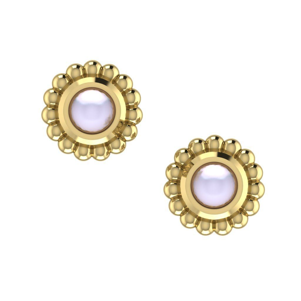 White Pearl & Yellow Gold Mini Alto Earrings