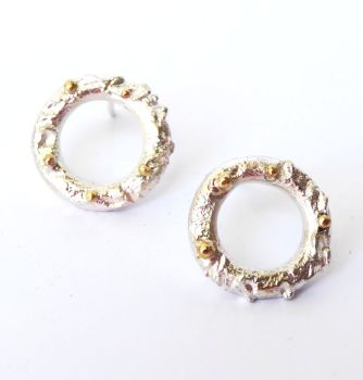 Silver And Gold Detailed Rivda Stud Earrings