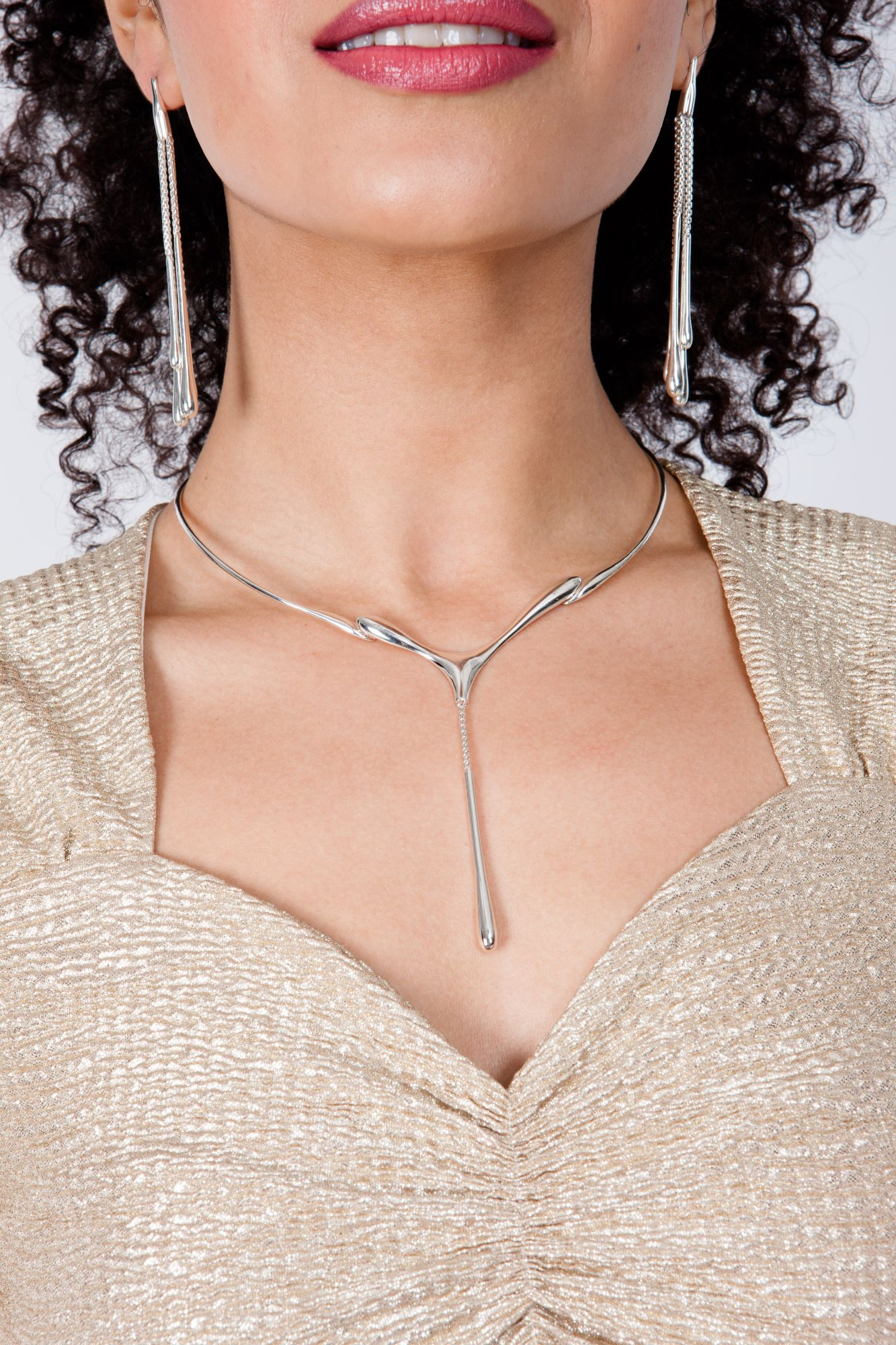 Silver drip necklace