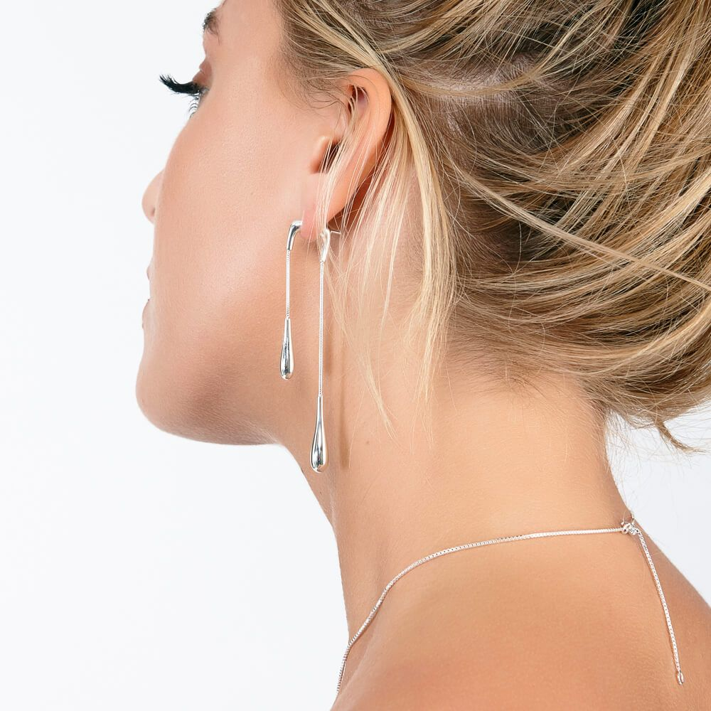 Double drop silver stunner earrings