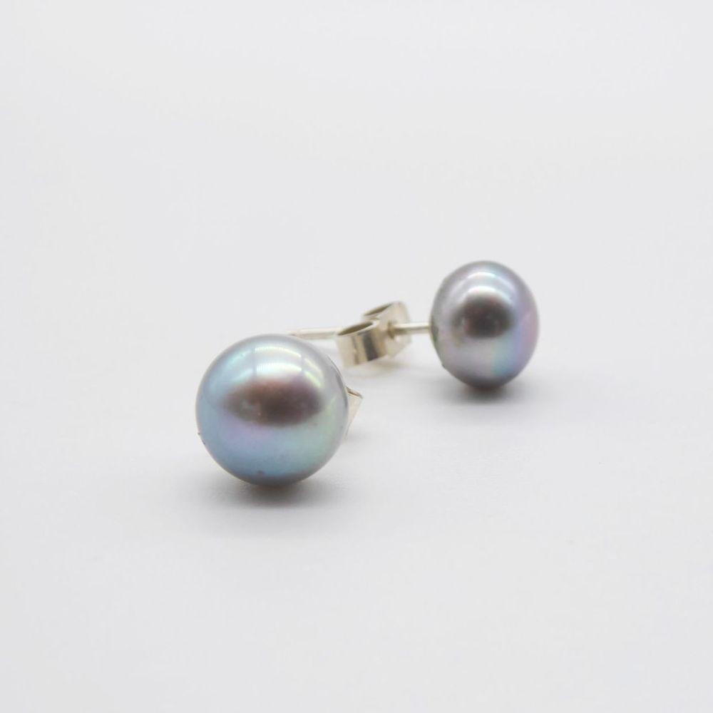 Silver Grey Pearl Studs Earrings - 5mm