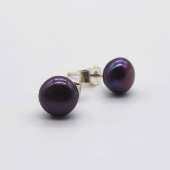 Black Peacock Purple Pearl Stud Earrings  9 - 10 mm