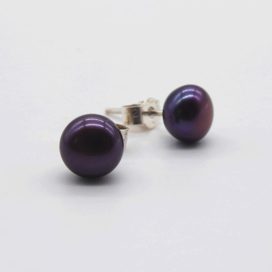 Black Peacock Purple Pearl Studs 7-8mm