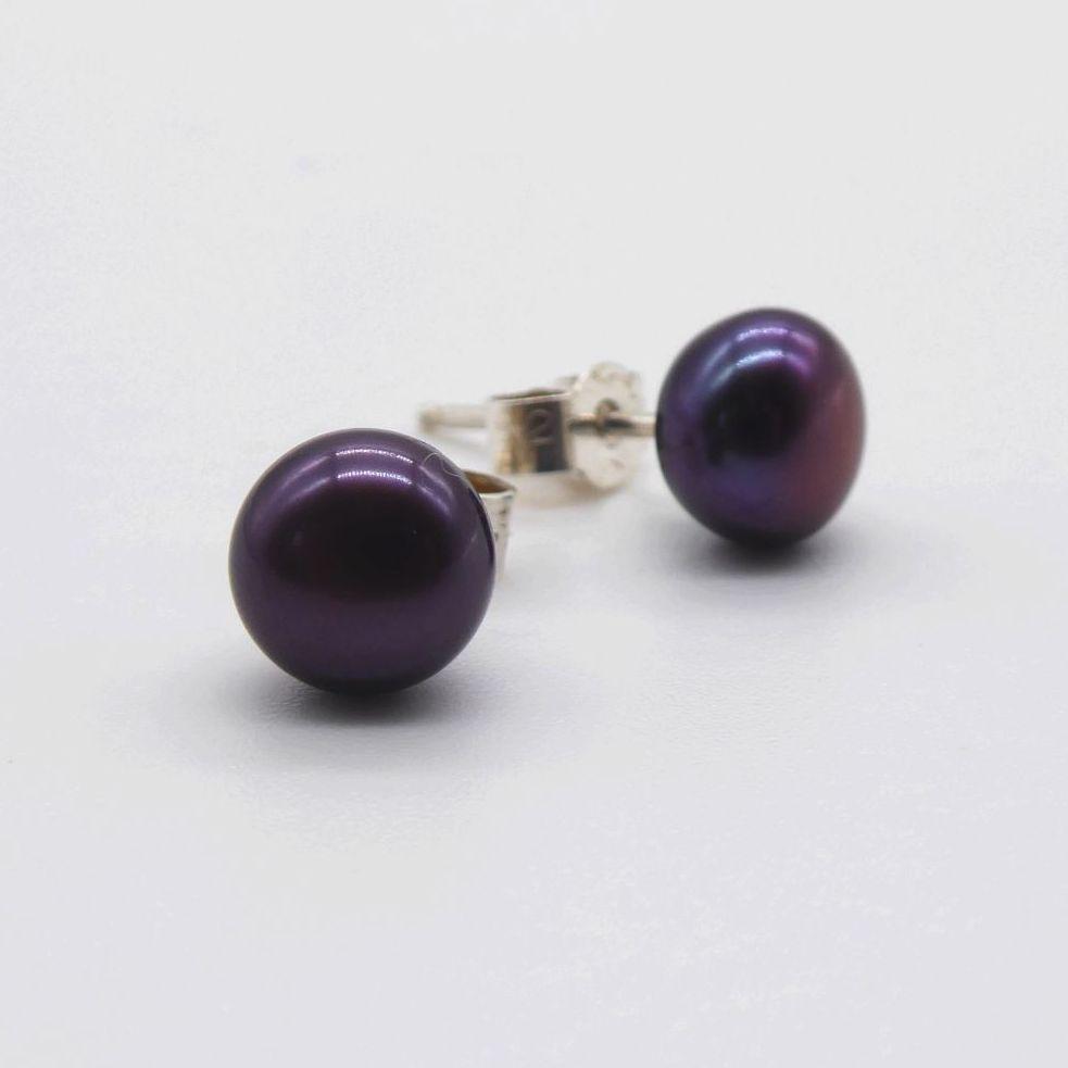 Black Peacock Purple Pearl Studs Earrings 11 -12 mm