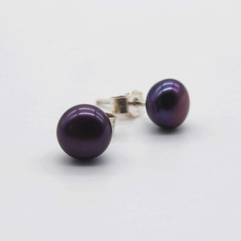 Black Peacock Purple Hue Pearl Studs with silver backs 5-6 mm