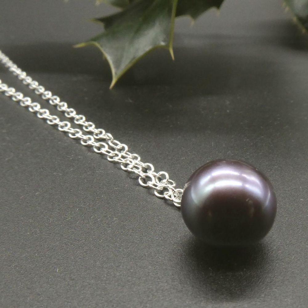 Dainty single black pearl pendant 7 - 8 mm