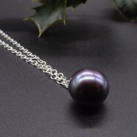 Purple Hue Dainty Single Black Pearl Pendant - 7-8 mm