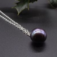 Purple Hue Large Single Black Pearl Pendant - 11-12 mm