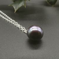 Large Single Black Pearl Pendant - 11-12 mm