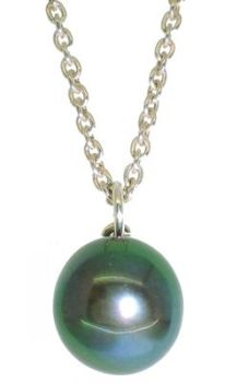 Green Hue Dainty Single Black Pearl Pendant - 7-8 mm