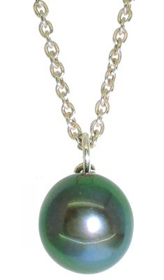 Green Hue Dainty Single Black Pearl Pendant - 7-8 mm