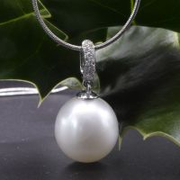 18 Carat White Gold With Diamonds and Pearl Pendant