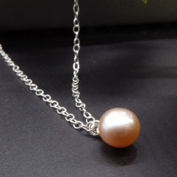 Single peach pearl necklace, modern and dainty 5-6mm