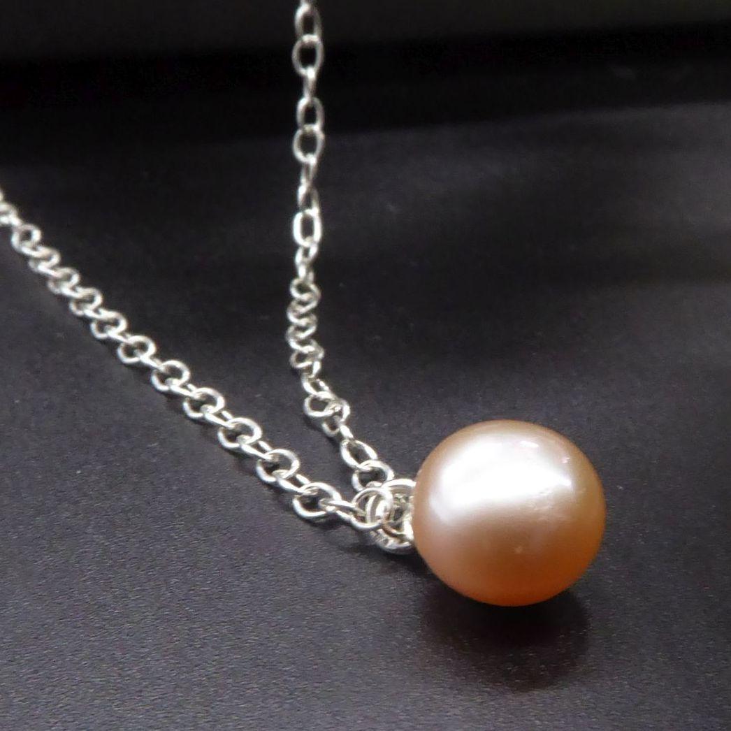 Single Pearl Drop Pendant in Peach - 9-10 mm