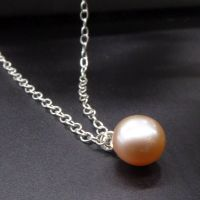 Single Pearl Drop Pendant in Peach - 9-10 mm