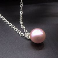 Single pink pearl dainty pendant - 5-6mm