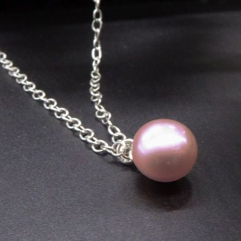 Dainty pink pearl pendant - 7-8mm