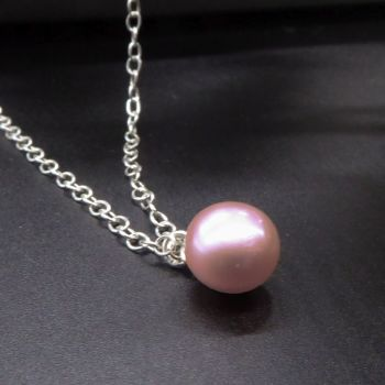 Single Pink  Pearl Necklace - 11-12mm